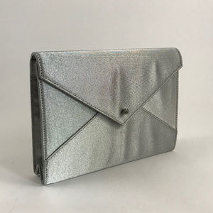 Kate Spade Silver Fabric Envelope Clutch LIKE NEW!